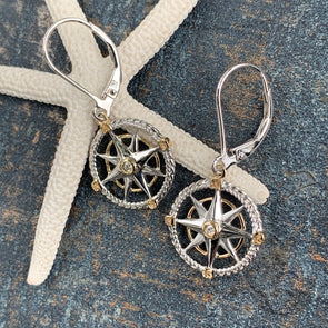 Compass Rose Earrings W/ Diamond - BEACH TREASURES ONLINE