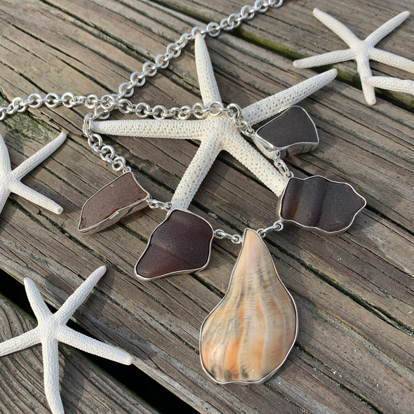 Beach Treasures Seaglass and Shell Necklace | BT☆Sterling® - BEACH TREASURES ONLINE