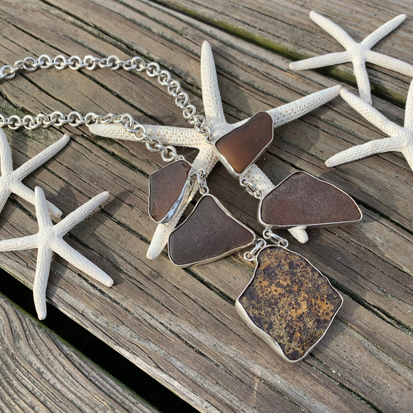 Beach Treasures Crackled Seaglass and Shell Necklace | BT☆Sterling® - BEACH TREASURES ONLINE