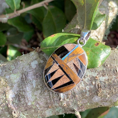 Native American Tiger's Eye, Jasper and Onyx Pendant