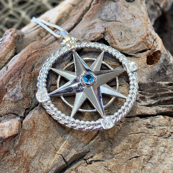 Sterling Silver Compass Rose Pendant - BEACH TREASURES ONLINE
