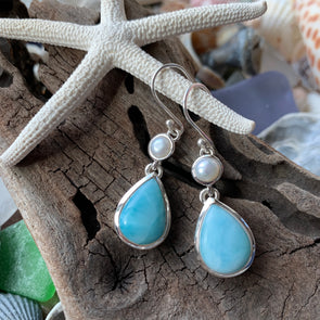 Larimar Tearadrops and Pearl Dangle Earrings