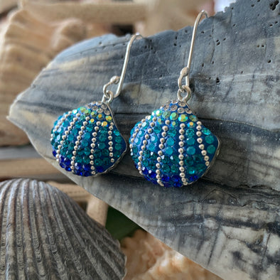 Artisan Handset Crystals Seashell Earrings