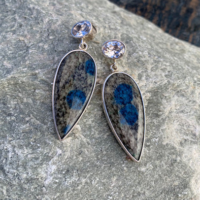 Charles Albert® White Topaz and Blue Dot Jasper Earrings - BEACH TREASURES ONLINE
