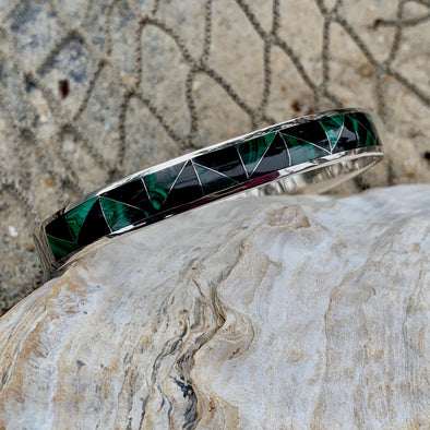 Malachite and Onyx Men's Bracelet | Men's Gemstone Jewelry - BEACH TREASURES ONLINE