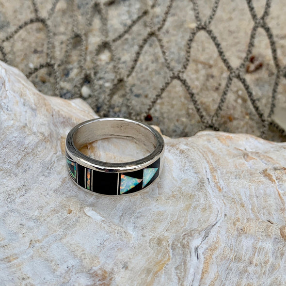 Native American Onyx and Crushed Opal Men's Ring | Men's Gemstone Jewelry - BEACH TREASURES ONLINE