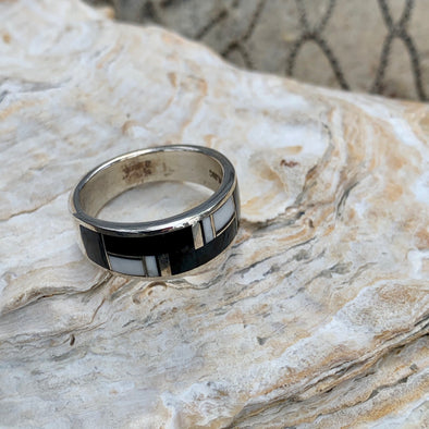 Native American Onyx and White Shell Men's Ring | Men's Gemstone Jewelry - BEACH TREASURES ONLINE