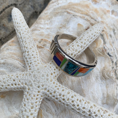 Native American Lapis and Spiny Oyster Men's Ring | Men's Gemstone Jewelry - BEACH TREASURES ONLINE
