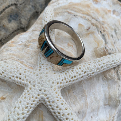 Native American Jasper and Turquoise Men's Ring | Men's Gemstone Jewelry - BEACH TREASURES ONLINE