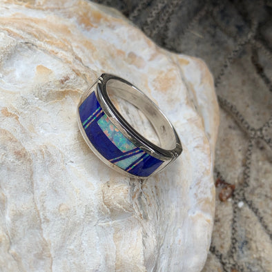 Native American Lapis and Crushed Opal Men's Ring | Men's Gemstone Jewelry - BEACH TREASURES ONLINE