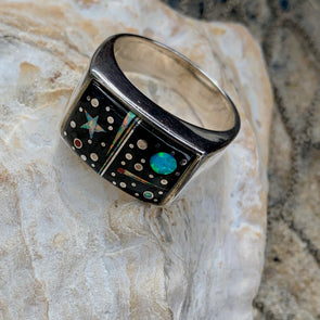 Marked Calvin Sterling Native American Men's Ring | Men's Gemstone Jewelry - BEACH TREASURES ONLINE