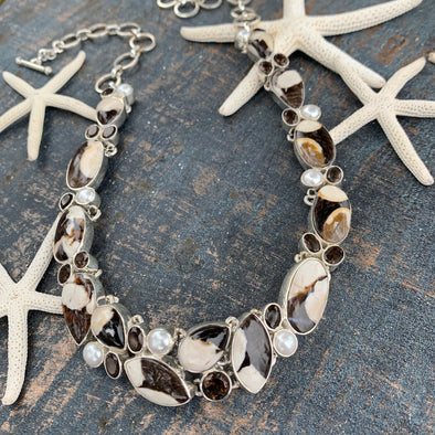 Peanut Wood Stone, Pearl, and Smokey Topaz Necklace - BEACH TREASURES ONLINE