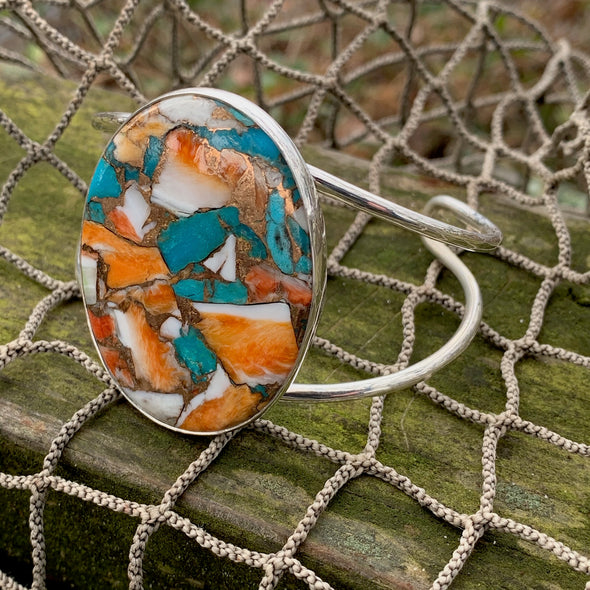 Oyster Turquoise Cuff Bracelet - BEACH TREASURES ONLINE