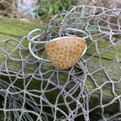 Fossilized Coral Cuff Bracelet - BEACH TREASURES ONLINE
