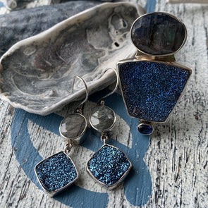 BLUE DRUZY QUARTZ | Hand Selected Set (Pieces Sold Individually)
