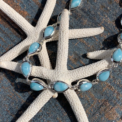 Larimar Tiny Teardrops Bracelet - BEACH TREASURES ONLINE