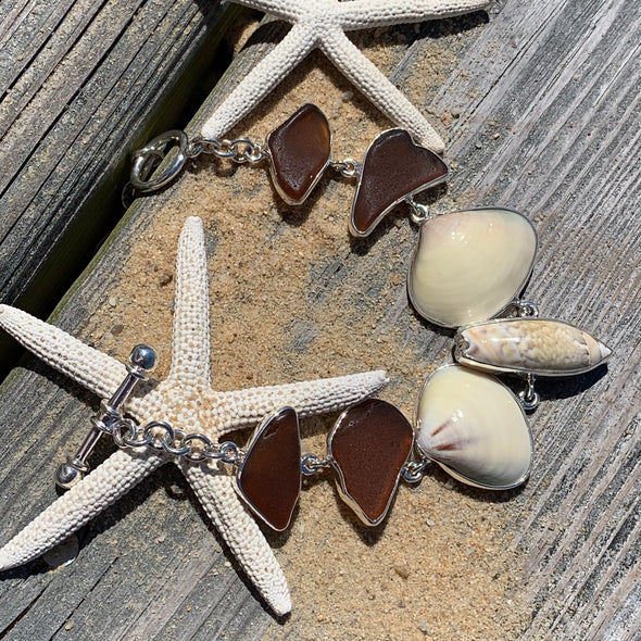 Beach Treasures Shells and Seaglass Bracelet | BT☆Sterling® - BEACH TREASURES ONLINE