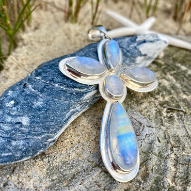 Larimar, Moonstone, and Blue Topaz Pendant