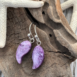 Charoite Swirl Earrings - BEACH TREASURES ONLINE