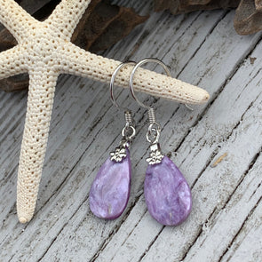 Charoite Teardrop Earrings - BEACH TREASURES ONLINE