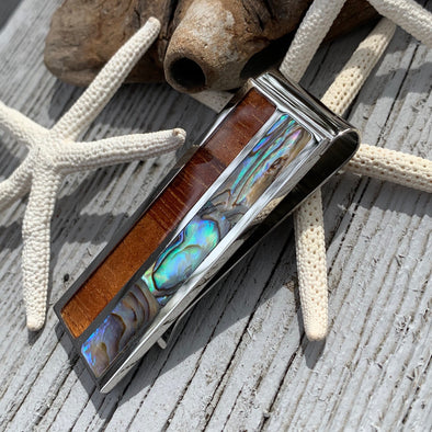 Koa and Abalone Shell Money Clip - BEACH TREASURES ONLINE
