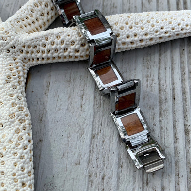 Koa and Tungsten Men's Link Bracelet - BEACH TREASURES ONLINE