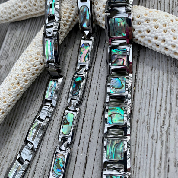 Abalone and Tungsten Men's Link Bracelet - BEACH TREASURES ONLINE