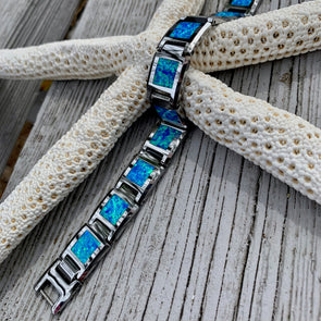 Crushed Opal and Tungsten Men's Link Bracelet - BEACH TREASURES ONLINE