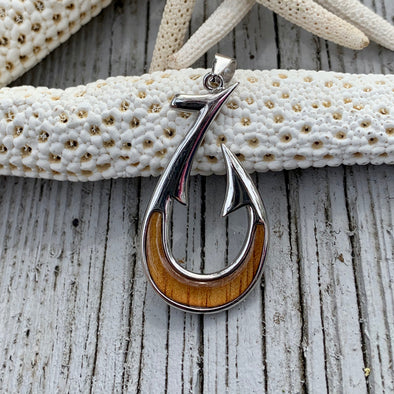 Koa Nautical Hook Pendant - BEACH TREASURES ONLINE