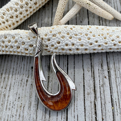 Koa Nautical Wrapped Hook Pendant - BEACH TREASURES ONLINE
