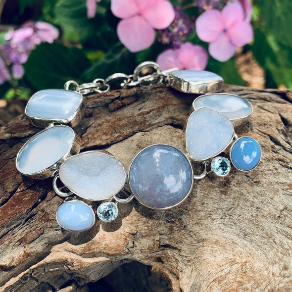 Chris Bales Blue Lace Agate and Chalcedony Bracelet - BEACH TREASURES ONLINE