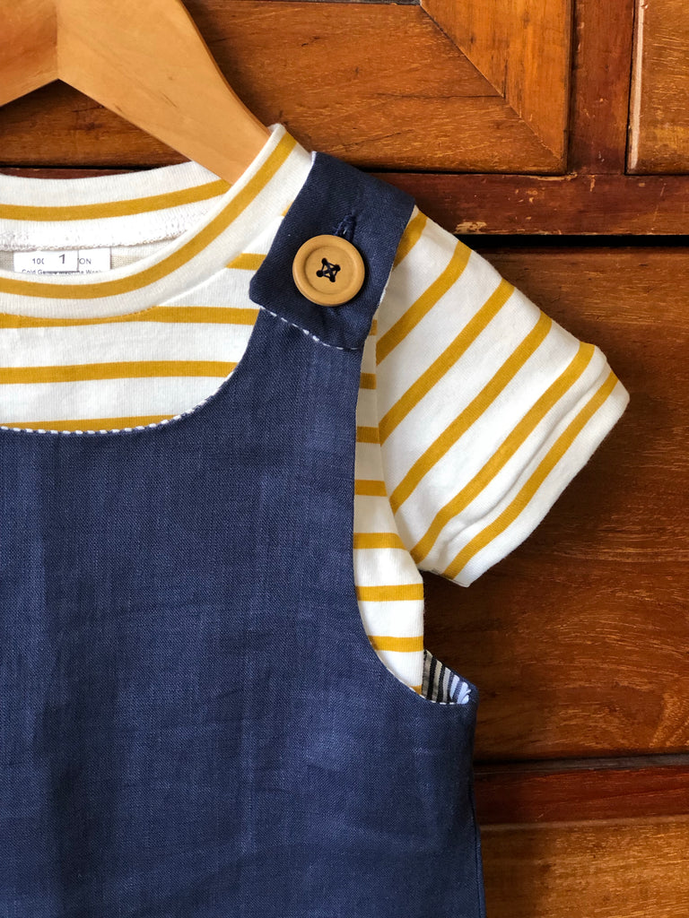 Teddy Summer Overalls - Navy Linen