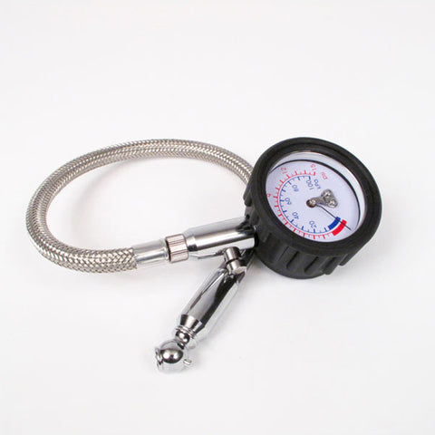 "WHITES TYRE PRESSURE GAUGE 2"" DIAM 0-15PSI FLEXIBLE S/S HOSE"