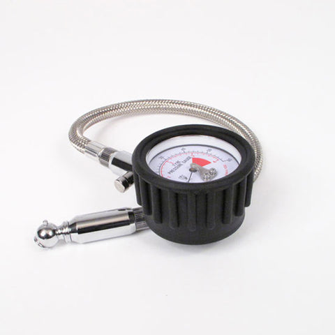 "WHITES TYRE PRESSURE GAUGE 2"" DIAM 0-60PSI FLEXIBLE S/S HOSE"