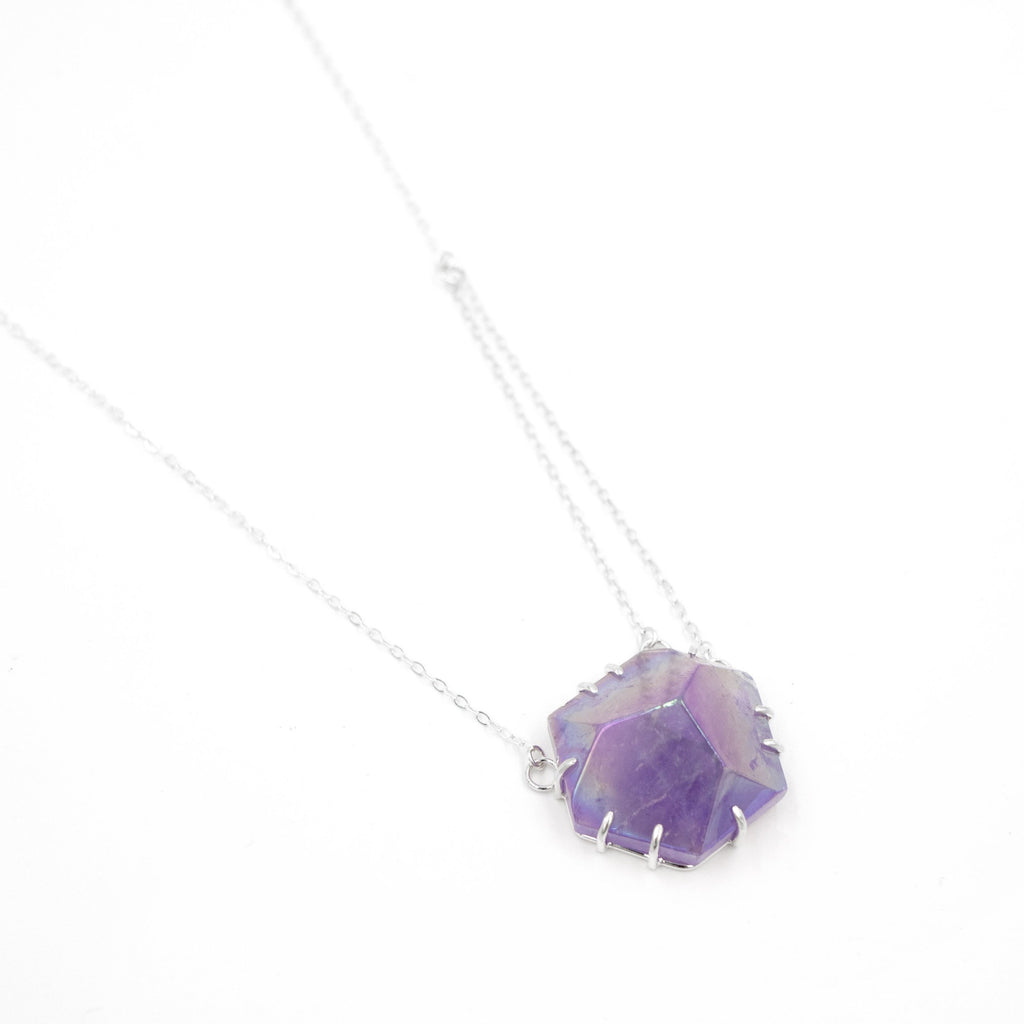 Amethyst Pyramid Necklace by Rockhaus Metals