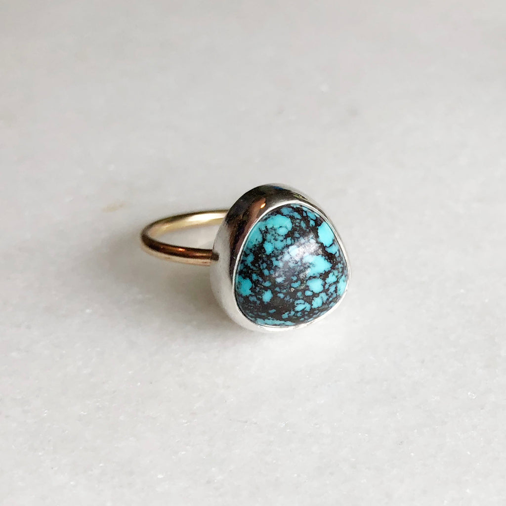 Turquoise Ring with 14k Gold Fill Band by Rockhaus Metals