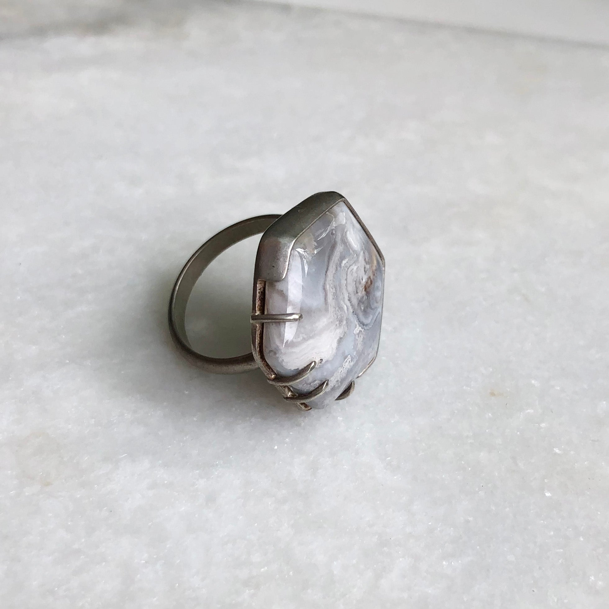 Crazy Lace Agate Ring // size 7.5