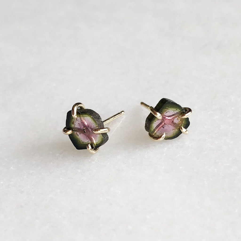Green and Pink Tourmaline Studs in 14k Gold by Rockhaus Metals