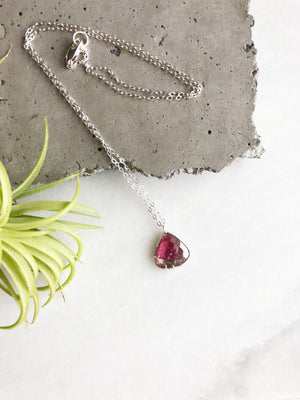 Pink Rose Cut Tourmaline Necklace by Rockhaus Metals