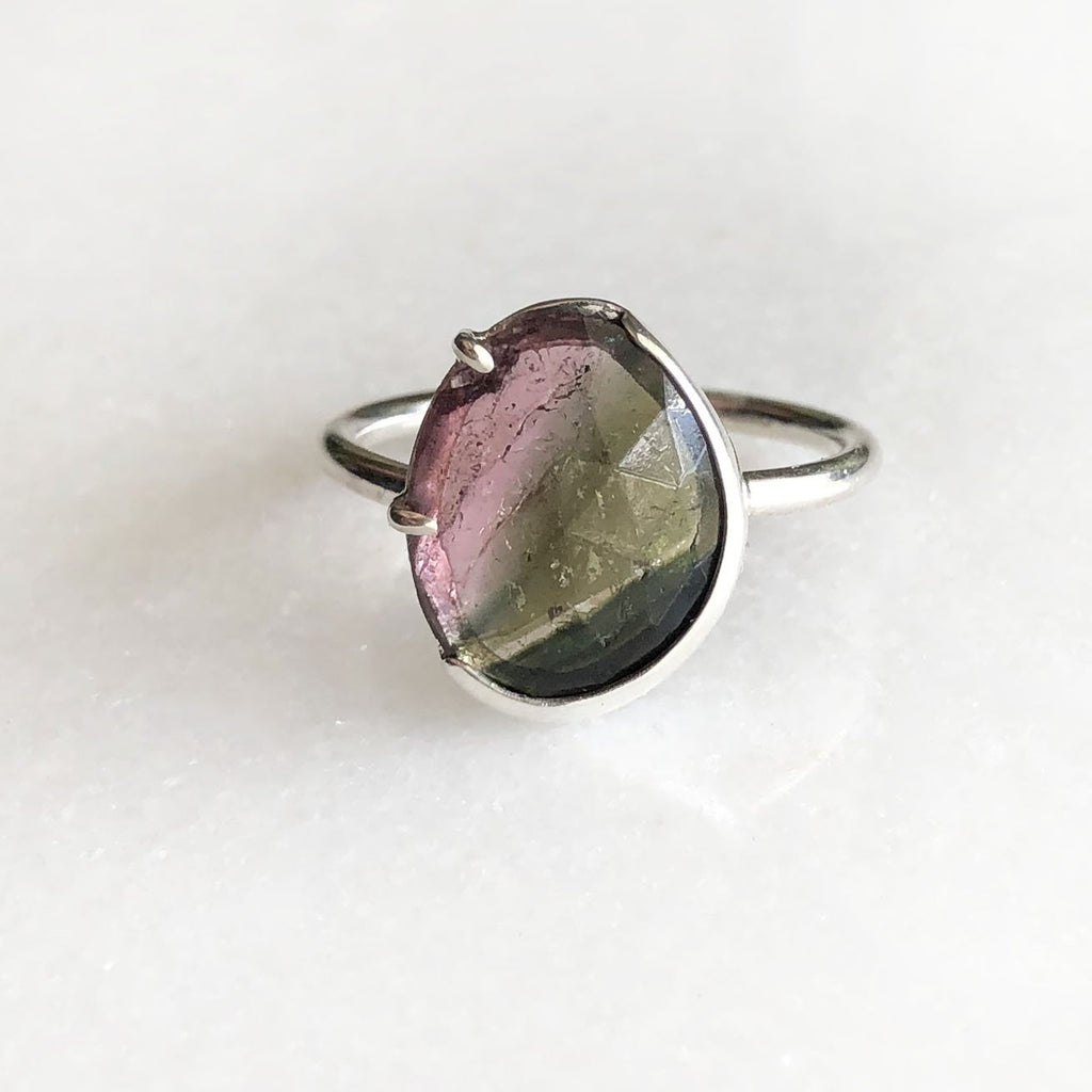 Dark Green and Pink Rose Cut Tourmaline Ring by Rockhaus Metals