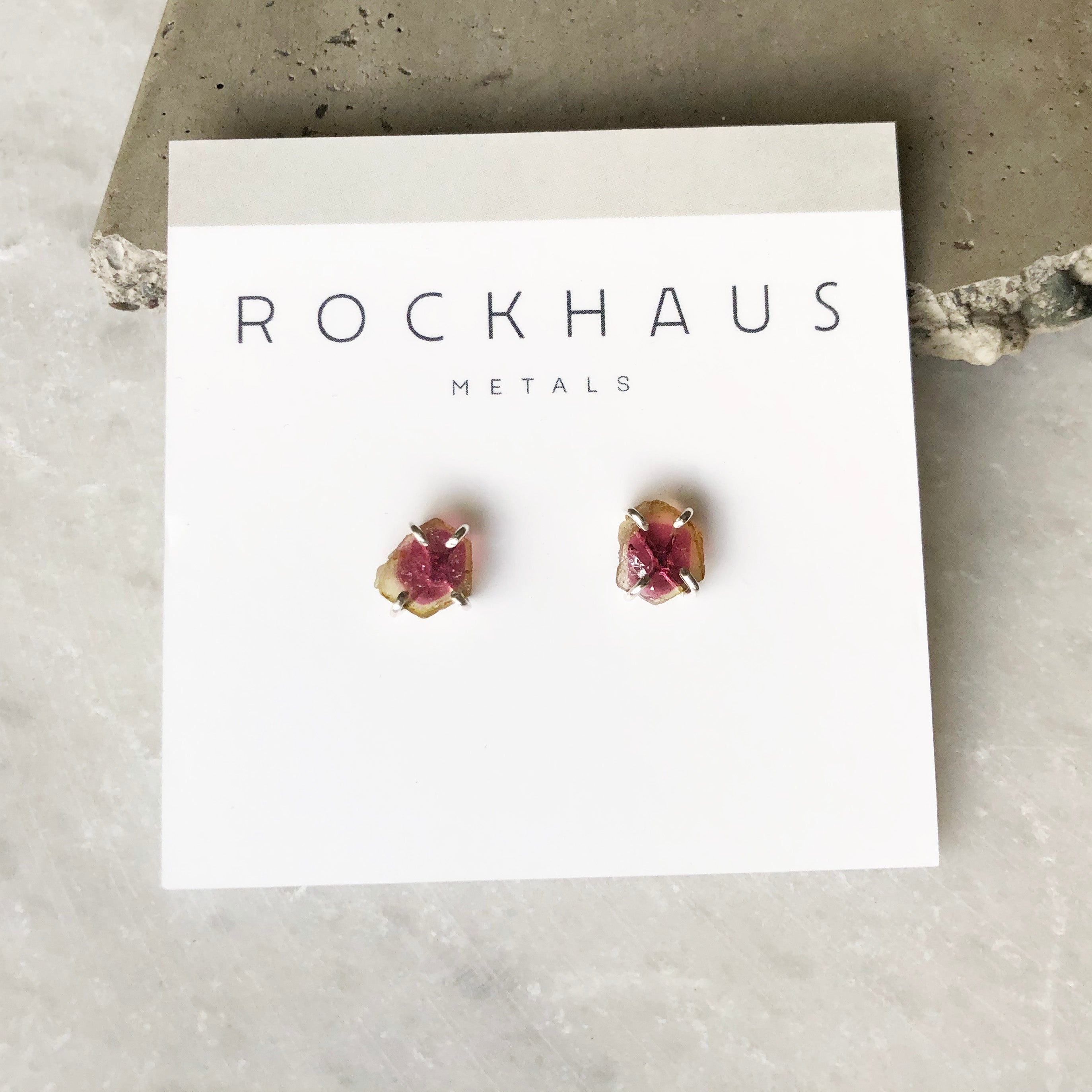 Pink and Light Green Tourmaline Studs by Rockhaus Metals