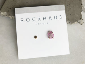 Mismatched Pink Tourmaline and 14k Gold Hammered Disk Earrings by Rockhaus Metals