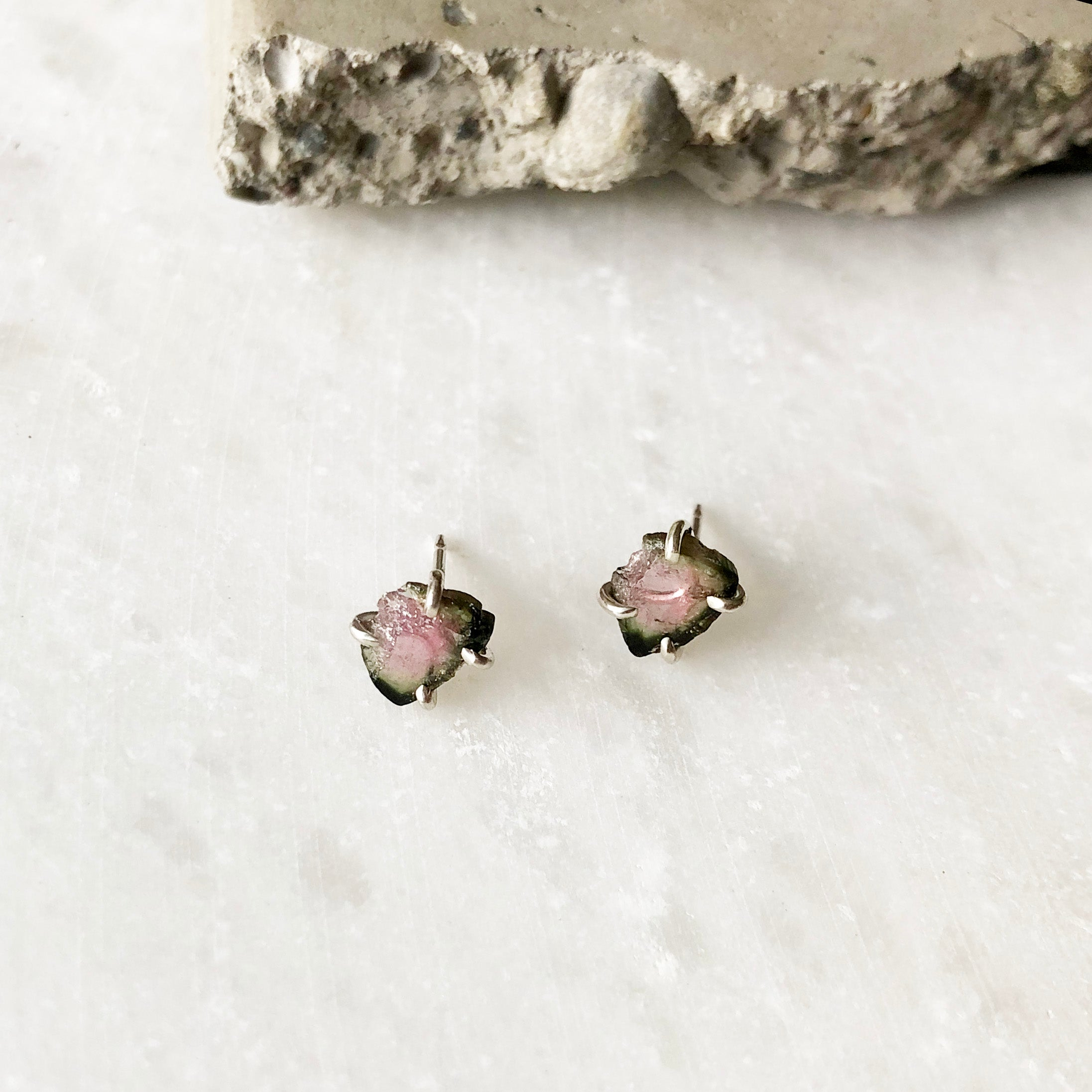 Pink and Green Tourmaline Studs by Rockhaus Metals