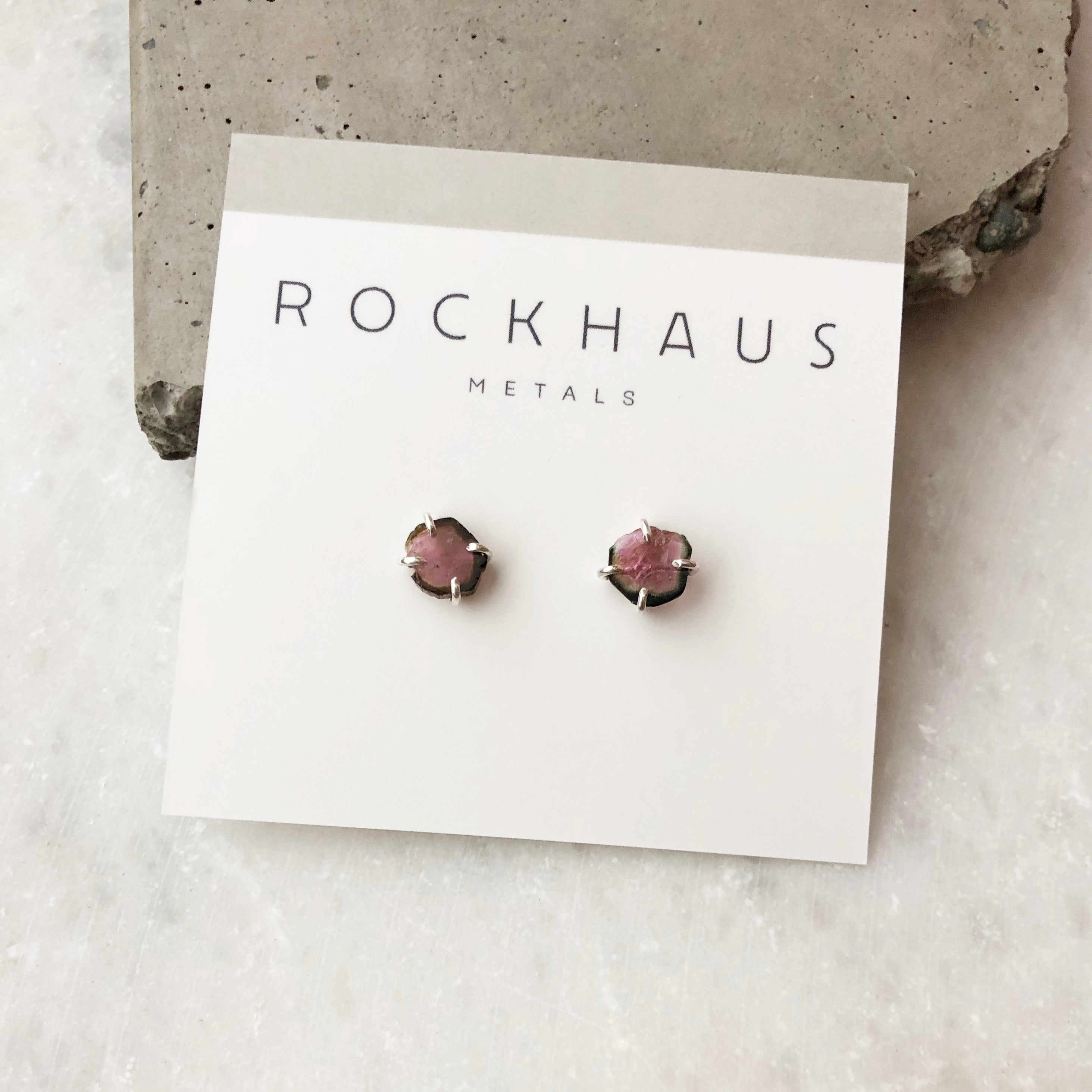 Pink and Green Watermelon Tourmaline Studs by Rockhaus Metals
