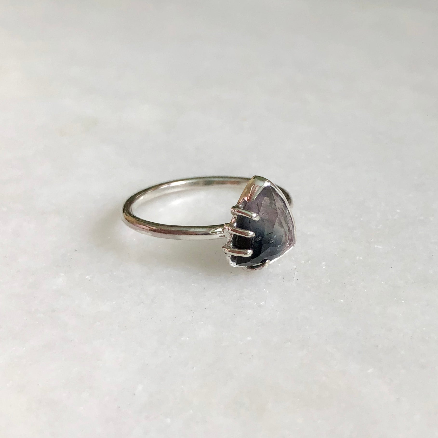Purple and Navy Rose Cut Tourmaline Ring by Rockhaus Metals
