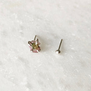 Mismatched Small Pink Tourmaline Studs by Rockhaus Metals