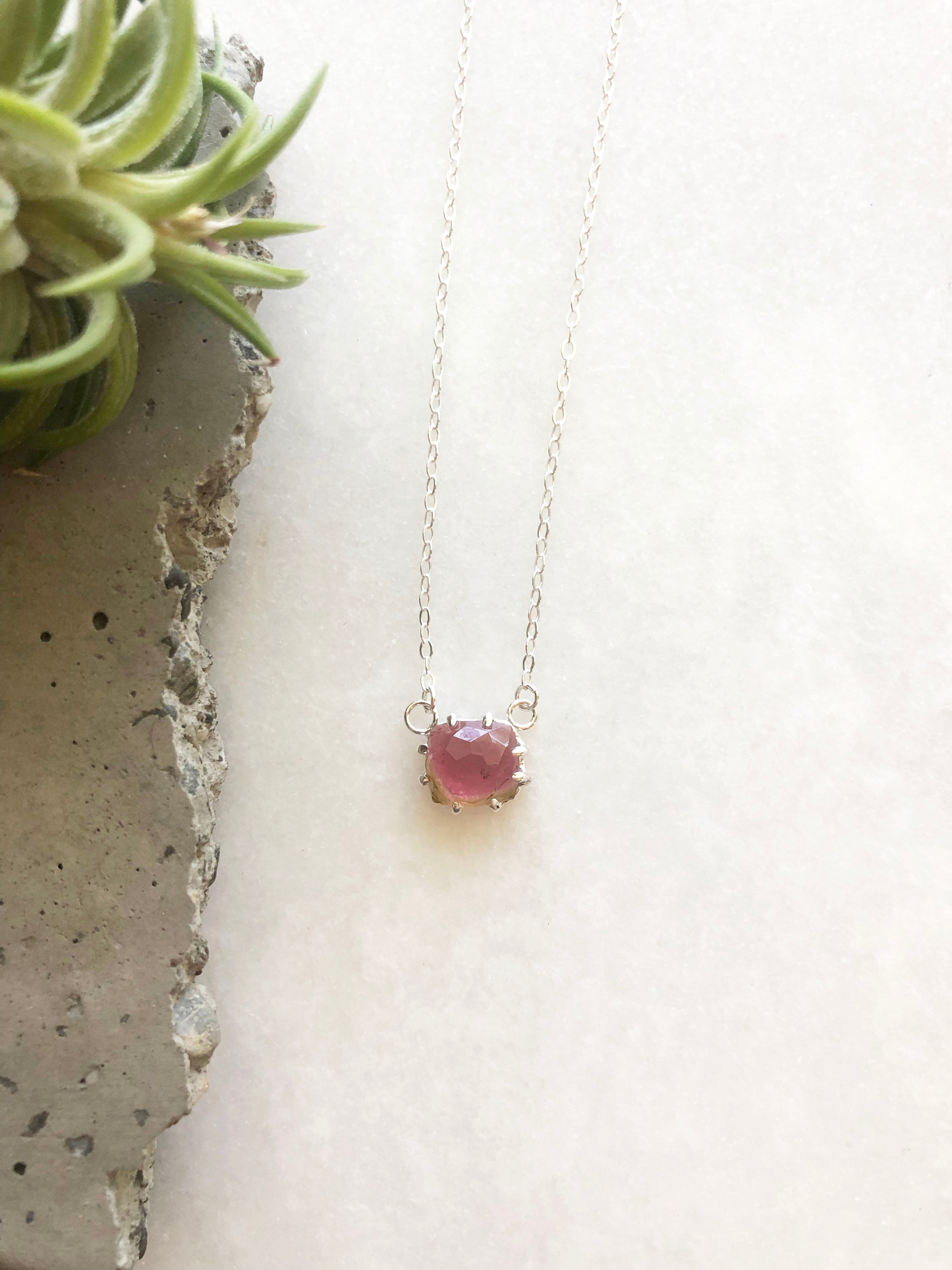 Watermelon Tourmaline Necklace by Rockhaus Metals