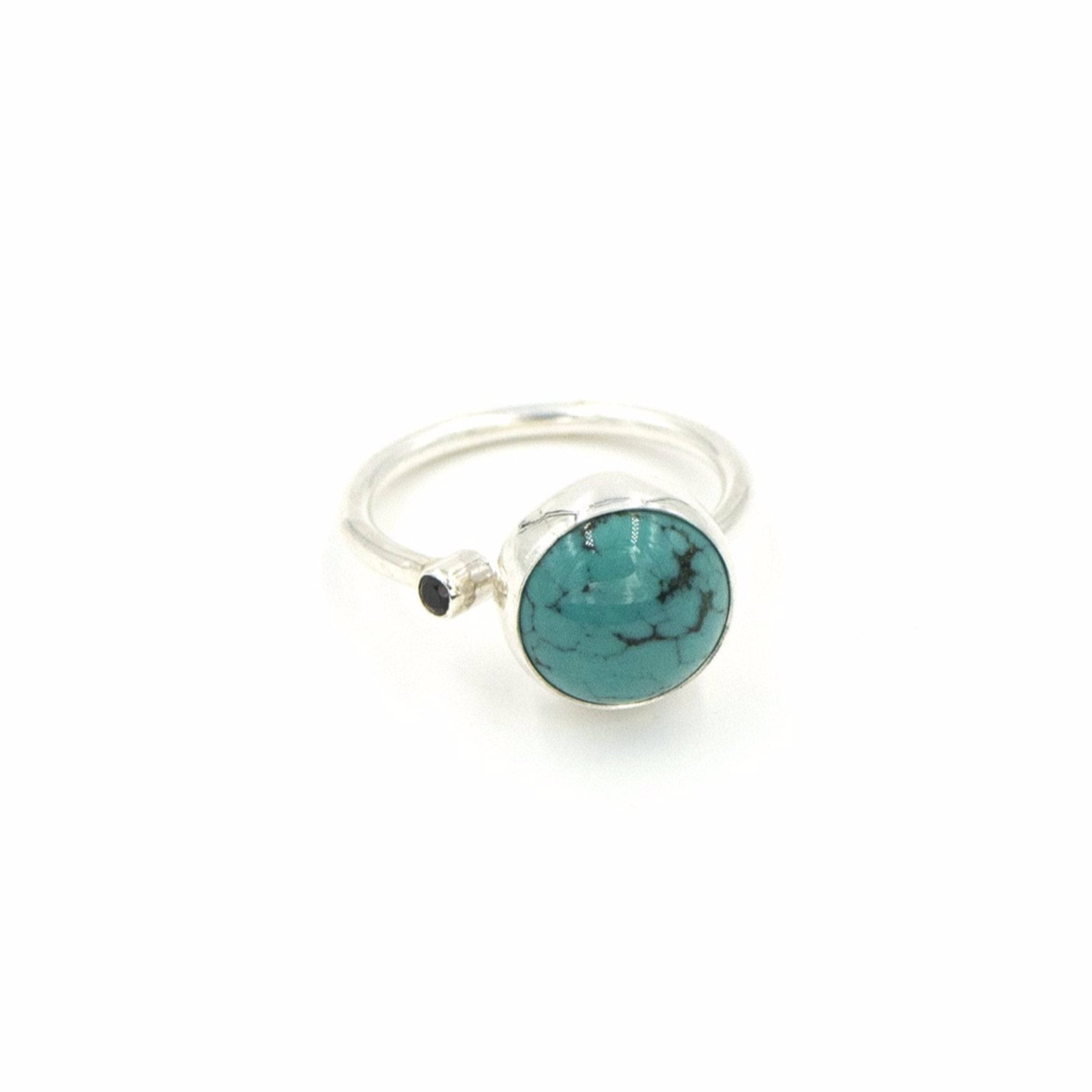 Turquoise and Black Spinel Open Ring