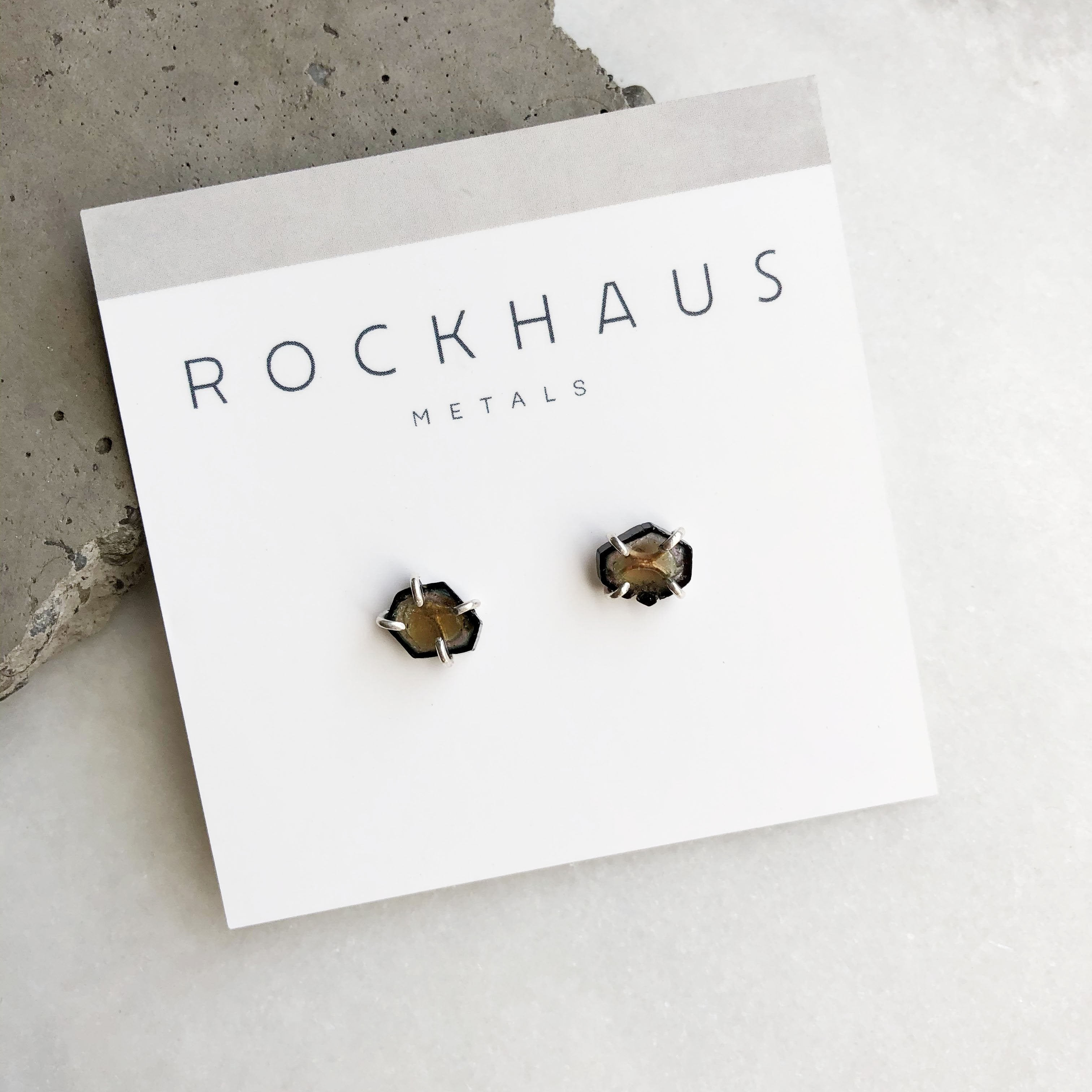 Yellow and Black Tourmaline Studs by Rockhaus Metals