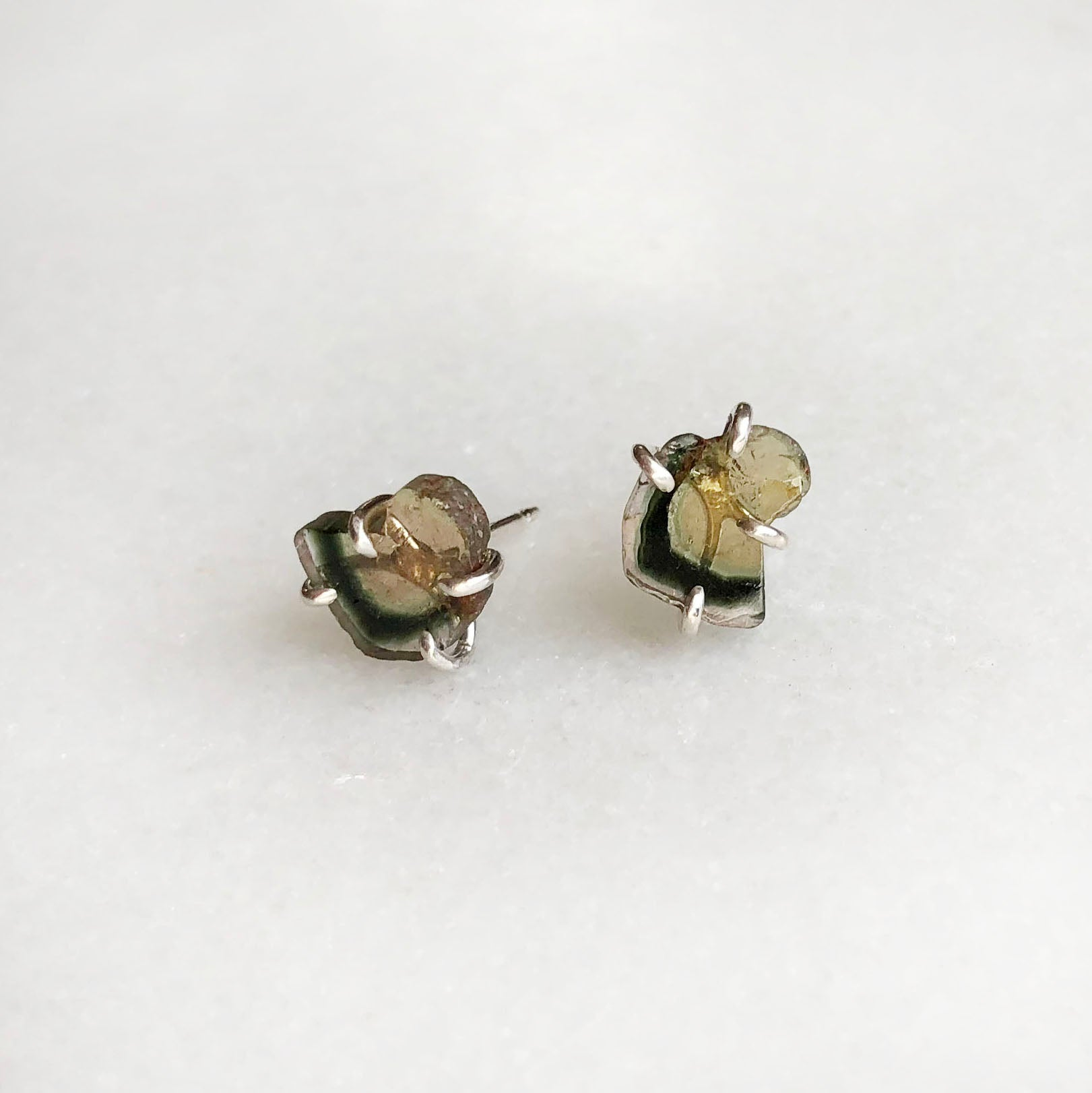 Yellow and Green Tourmaline Studs by Rockhaus Metals